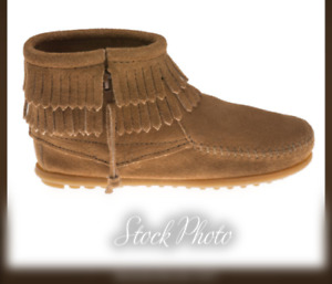 Minnetonka Moccasin Suede Leather Double Fringe Boots 2297T Child's Size 4 Taupe