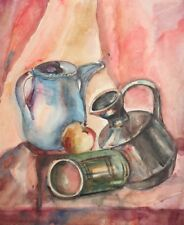 Vintage watercolor painting still life with pitchers and apple