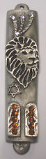 Pewter Lion Of Judah Mezuzah With Kosher Mezuzah Scroll With Swarovski Crystals