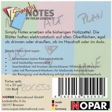 SIMPLY NOTES by Folio Contact,Haftzettel,10x20cm,gelb,100 Blatt, elektrostatisch
