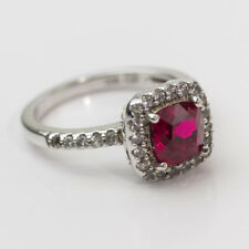 DAZZLING 925 STERLING SILVER PRINCESS RING W/ RED RHINESTONE & PETITE ACCENT CZ