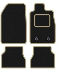 PEUGEOT 107 2005 ONWARDS TAILORED BLACK CAR MATS WITH BEIGE TRIM