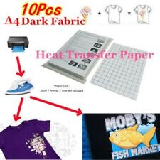 10Pcs A4 Heat Transfer T-Shirt Laser/Inkjet Iron-On Paper For Dark/Light Fabric