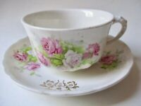 Very Vintage Shabby & Chic Teacup & Saucer with Pink & White Cabbage Roses