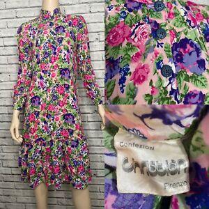 Vintage Pink Floral Ruffle Hem Dress Cottagecore Peasant