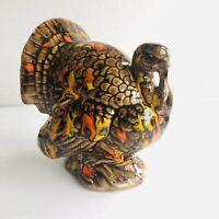 """Ceramic Glazed Turkey Centerpiece Figurine Fall Thanksgiving 6""""x 5"""" x 4.25"""""""