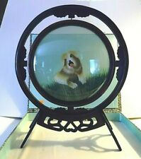 Vintage Chinese Embroidered Silk Dog Picture Under Glass Rotating Wooden Frame