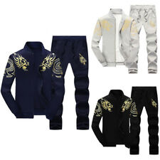 Men Tracksuit Set Jacket + Sweatpants Hoodies Sportswear Sport Zip Up Fall M-4XL