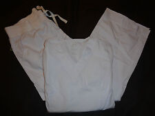 Peaches White Paige Top 4178 & 7438 Comfort Pants Medical Scrub Set XL New