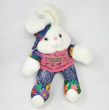 "17"" VINTAGE TB TRADING HIP HOP BUNNY RABBIT NEON COLORS STUFFED ANIMAL PLUSH TOY"