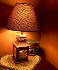 Primitive Country Burgundy Khaki Check  Lamp Shade Plaid Lantern Light Home Deco