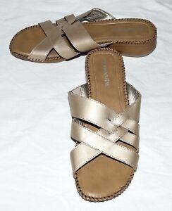St Johns Bay Gold Crisscross Leather Womens Slides Sandals Size 9.5 M NWOB