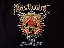 BASKETBALL T-shirt  Size Large Black Tee Mens EUC Flaming Hoop Miles City