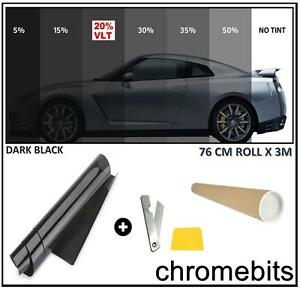 BLACK CAR WINDOW TINT FILM TINTING DARK SMOKE 20% 76cm x 3M  30X118""