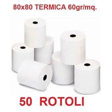 50 ROTOLI TERMICI 80x80 60gr/mq. STAMPA SCOMMESSE CARTA TERMICA PER EPSON TM-T