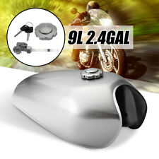 Motorcycle 9L 2.4 Gallon Fuel Gas Petrol Tank For Honda CG125 Cafe Racer Silver