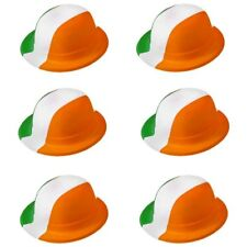 6 X PLASTIC IRISH BOWLER HATS SAINT PATRICKS DAY FANCY DRESS HAT PARTY PACK