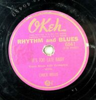 Chuck Willis - Blues Okeh 78 RPM - Let's Jump Tonight / It's Too Late Baby A12