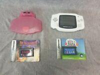 Nintendo Gameboy Advance HandHeld Console White  AGB-001 Bundle 2x Games Light