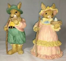 """Easter Bunny Rabbit Decor, Mr & Mrs Set High Detailed Resin 9""""Tall Decorations"""