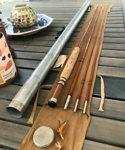 Vintage Heddon #10 Blue Waters Bamboo Fly Rod - 9', 3/2pc, 2 1/2F, Sock, Tube