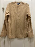 POLO Ralph Lauren Tucker Cotton Mandarin Collar Beige Stripe Shirt Size Medium