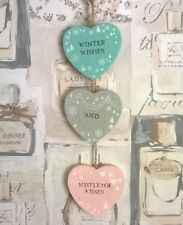 Christmas Decoration. 3 Wooden Hearts. Pastel Shabby Chic, Festive Holiday Gift