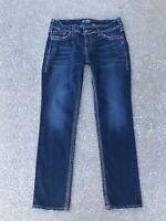 Silver Suki Mid Straight Jeans 30 x 32 Dark Blue Stretch Denim