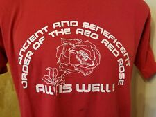 Vtg 80s Ancient and Beneficent Order of the Red Red Rose t shirt L bizarre cult
