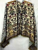 Vtg DIY Fabric Project Embroidered Paisley Jacquard Fringe Craft Sewing 37 X 96