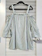3/4 olive stripe cold-shoulder top w/ frill neck 2XL