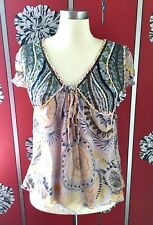 ANTIK BATIK SILK EMBROIDERED BLOUSE TOP S USED ONCE IN SHOOT