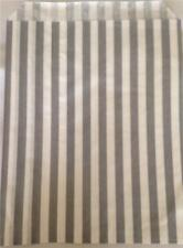 "20 GREY AND WHITE CANDY STRIPE PAPER BAGS 7 x 9"" IDEAL FOR CARDS SMALL GIFTS ETC"