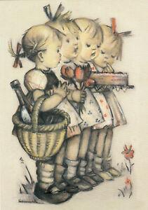Kunstkarte: Hummel - Wir gratulieren / Kinder mit Kuchen, Wein u. Blumen