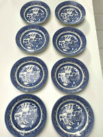 CHURCHILL Willow Blue Coupe Soup Bowl Set of 8