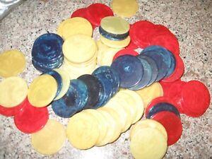 160 Vintage Catalin Marbleized Swirl Bakelite Poker Chips BUTTERSCOTCH- BLUE RED