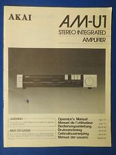 AKAI AM-U1 OWNER OPERATOR MANUAL ORIGINAL FACTORY ISSUE THE REAL THING