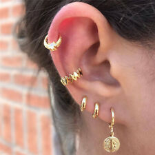 5PCS/Set Womens Girl Ear Stud Earrings Gold Crystal Punk Small Hoop Band Jewelry