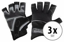3 Paar professionelle Rigger Handschuhe mit kurzen Fingern, Kunstleder Schwarz