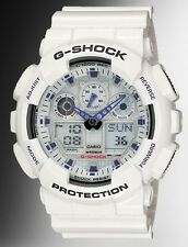 Casio G Shock * GA100A-7A Anti Magnetic Anadigi Watch X-Large White Resin Men