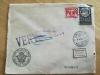 Enveloppe annotée Vervalen unbekann Destination Biel Suisse Timbre Pays Bas 1933