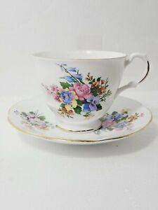 Vintage Royal Dover Bone China  Floral Tea Cup & Saucer Made in England
