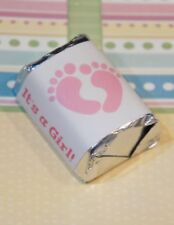 30 Baby Shower It's a Girl Pink Feet Hershey Candy Nugget Wrappers Stickers