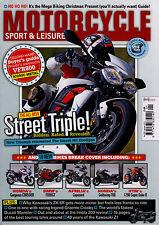 MOTORCYCLE SPORT & LEISURE Jan 2013, Speed Triple, Kawasaki Z1, ZX-6R, VFR800