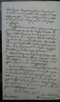 1855 103) LETTERA AUTOGRAFA SCRITTORE PIACENTINO LUCIANO SCARABELLI DA GENOVA