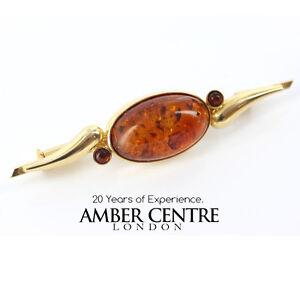 Italian Handmade Elegant German Baltic Amber Brooch 18ct Gold GB0029 RRP£1000!!!
