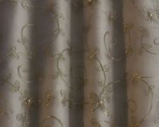 """Silver Embroidery on White 100% Silk Organza Fabric 44"""" Wide, By  Yard (EB-978)"""