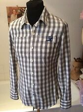 """Superdry ~twill cotton grey/white gingham check l/sleeve slim fit shirt M 36-38"""""""