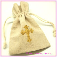Hessian Bag with Gold Cross. Approx 9 x 13cm - Ideal For Wedding or Christening