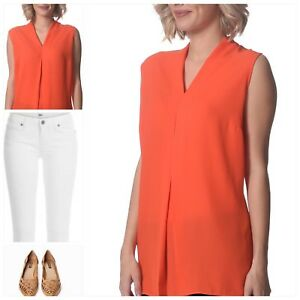 Women's Orange Classic V-Neck Blouse Sleeveless Top **NEW Plus Size Au22 - Au24